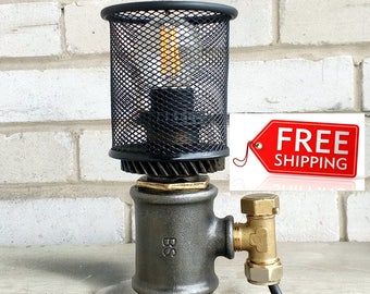 Industrial lighting Fixtures Idustrial side Table lamp vintage Industrial lighting for Sale Industrial style Etsy gifts Industrial Lampe