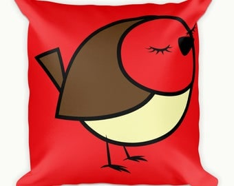 Red Robin Cushion Cover, Square Pillow case, Festive Cushion Cover, Robin Cushion Cover, christmas throw pillow