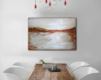 ORIGINAL PAINTING 36x24 Large Canvas Art Abstract Landscape Canvas Painting Modern Gold Abstract Art Gold Painting Seascape Wall Decor