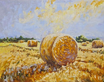 Picture by oil on a canvas,field, sheaves,summer,heat,intense heat,sunny day,hot time,art in a living room, heat field,yellow picture,warm