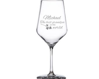Wine Glass with Engraving for The Best Grandpa - Gift for Grandpa - Father's Day - White Wine Glass with Engraving - Wine Glass with Name