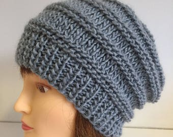 Chunky Knit Hat, Unisex Wool Beanie, Silver Blue Slouchy Beanie, Hand Knit Wool Hats, Hat Gifts For Men and Women, Girlfriend Winter Hat