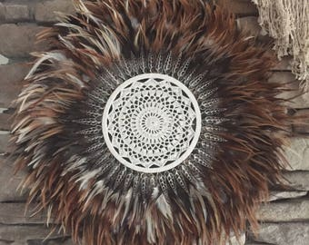 Tribal Feather & Shell JUJU Hat with Crochet Centre