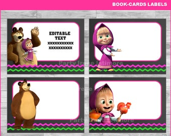 Masha and The Bear Printable Cards, tags, book labels, stickers, kids cards, gift tags, labeling, scrapbooking EDITABLE INSTANT DOWNLOAD