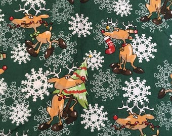 Christmas Fabric Sale, Quilt Fabric, Rudolph Fabric, Christmas Fabric Destash, Snowflake Fabric. Reindeer Fabric, Holiday Fabric