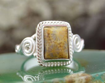 Square fossil coral and Sterling Silver ring size 2.5