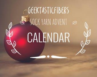Sock Yarn - Advent Calendar - Christmas Yarn - Gift For Knitter - Fingering Yarn - Speckled Yarn - Nerd Yarn -Geektasticfibers Yarn Calendar