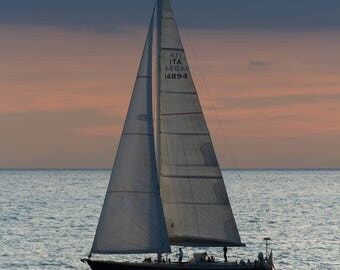 A ship on the horizon - Ship Photo - Sea Photo - Sunset - Boat - Photography - Photo - Art