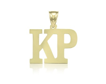 14K Solid Yellow Gold Custom 2 Initial Letter Pendant - A-Z Any Alphabet Necklace Charm