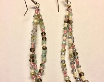 Extra long earrings in colored crystals