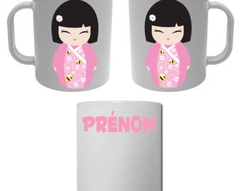 Kokeshi doll Japanese with personalized name Cup mug
