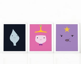 set of 3 Adventure Time, Lumpy Space Princess, Princess bubblegum, Marceline, adventure time, Vampire queen,Digital prints, set of 3 prints