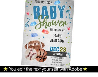 Sports Invitation - Sports Baby Shower Invitation - Baby Shower Invitation - Sports Baby Shower - INSTANT DOWNLOAD