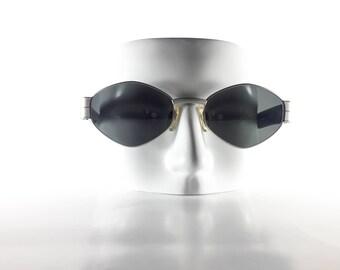 LES COPAINS Vintage Sunglasses Unisex Silver Metal Plastic Oval 2000 LESS23Q-2