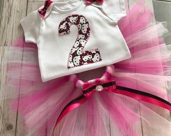 Hello kitty Birthday girl tutu outfit - ready to ship