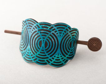 Leather Hair Bun Holder Geometric Cloud, Walnut Wooden Hair Stick, Hand Dyed Turquoise Laser Etched