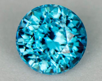 3.36ct 8.15mm Precision Cut Cambodian Blue Zircon