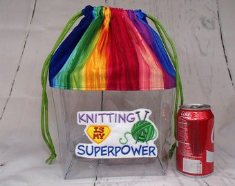 Knitting is my Superpower Crochet Drawstring Clear Project Bag, Large. Clear Vinyl Knitting Bag.