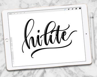 Custom Procreate Brush, Hi-lite Brush, iPad lettering, script Lettering, brush lettering, Procreate Brushes, Single Brush