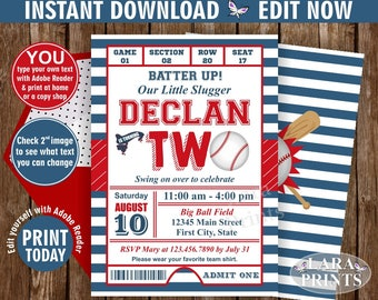 INSTANT DOWNLOAD / edit yourself now / Birthday Invitation / Second / Baseball / TWO / Sports / Invite / All star / 2nd / Ball red blue DSP6