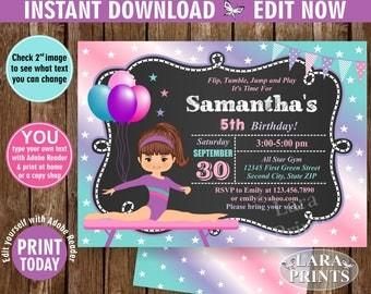 INSTANT DOWNLOAD / edit now / Birthday Invitation / Gymnastics Invitation / Gymnastic Invite / Girl Pink Purple Aqua Purple Chalkboard BDG1
