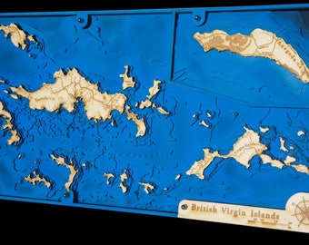 "British Virgin Islands (BVI) 12""x 24"", 3D bathymetry-topographic / Wood Sea Art"