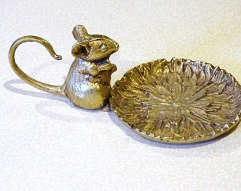 Vintage Brass Mouse Candle Holder