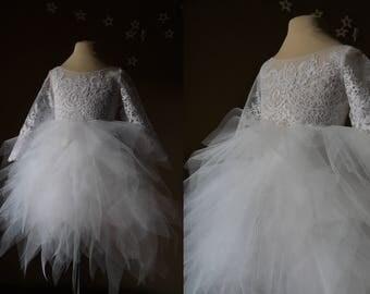 KELLY White Lace Tulle Flower Girl Dress Vintage Dress Wedding Bridesmaid Dress