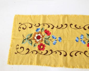 Embroidered table runner Yellow Floral Runner Russia style Floral Runner Shabby embroidery Embroidered table runner