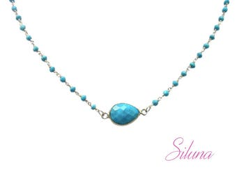 Turquoise necklace and sterling silver 925, gemstones and Rosary chain Choker necklace