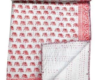 Indian Handmade Reversible Cotton Kantha Quilt, Hand Block Printed Sari Throw, Baby Blanket, Pink Baby Quilt, Cotton Kantha Baby Throw