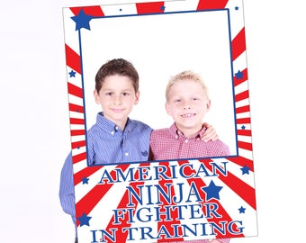 Large Personalized American ninja photo booth frame prop, Ninja party decorations, american photo booth props, warrior Party Props,10011239