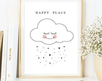 Happy place cloud print