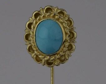 14k Yellow Gold Vintage Turquoise Stick Pin(01731)