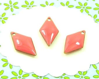 6 sequins glazed coral pink diamonds 1 hole SEL02 charms