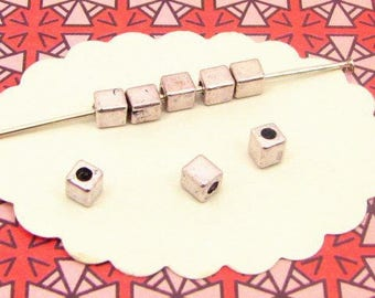 cubes 4mm silver tone BA84 45 beads