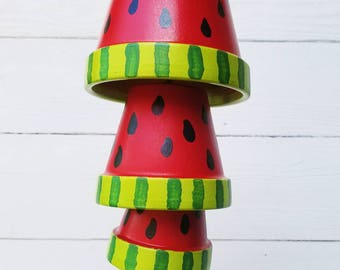 Terra Cotta Watermelon Wind Chimes, Hand Painted Clay Pots, Hanging Wind Chimes, Garden Art, Southern Summer Home Décor, Housewarming Gift