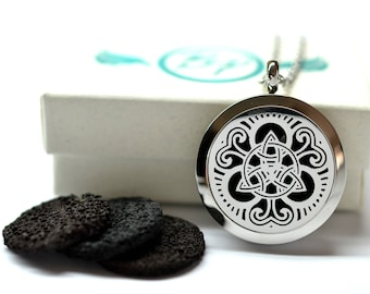 Celtic Knot Stainless Lava Stone Steel Diffuser Necklace // Aromatherapy Necklace // - With Choice of Essential Oil
