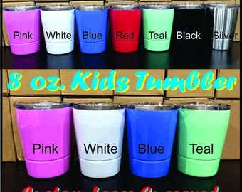 8 oz Color Stainless Steel Insulated Childs Tumbler - Custom Laser Engraved