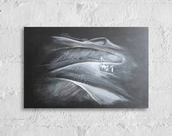 Snow storm in the desert. Acrylic on canvas. Fiction. Black and white. 30 x 20 inches.