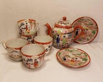 Nippon Japanese Kutani Geisha Porcelain 8 Piece Tea Set