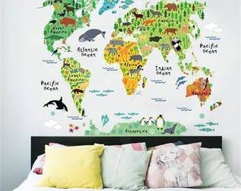 World Map Wall Decal, Wall Decal, Vinyl Wall Decal, Wall Decor, Nursery Wall Decal, Kids Wall Decor, Educational Nursery Decal