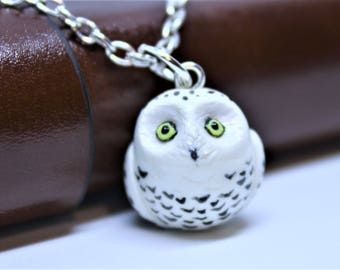Owl Necklace Owl Charm Owl Pendant Owl Figurine Owl Charm Necklace Owl Keychain Owl Jewelry Polymer Clay Owl Snowy Owl Necklace