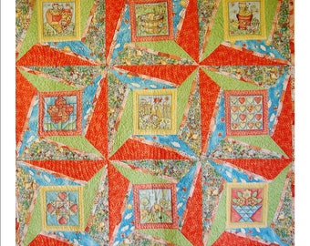 """KITTY-CORNER DELIGHT, 48 1/2"""" x 48 1/2"""" quilted wall hanging"""