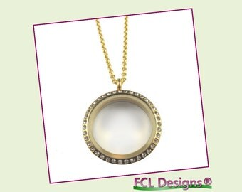 30mm CZ Gold Large Round Floating Charm Locket Necklace