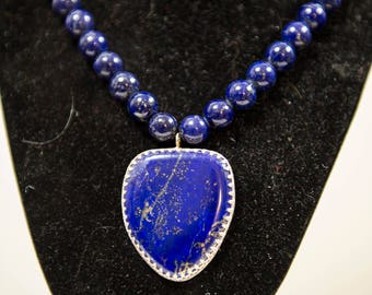 Lapis hand - crafted necklace in sterling silver stock #2388