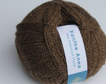 Shetland Wool 4 ply worsted - Brown - 50g/ British Wool/ Natural colour/ Un-dyed/