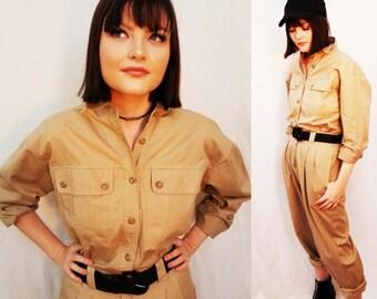 80's Beige Tan Liz Claiborne Klein Jumpsuit. Onesie. Cotton. Romper. One piece. Long Sleeve. Size small medium.