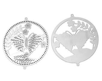 2 connectors in jewelry engraving filigree hollow stainless steel