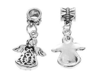 Pearl Dangle big hole European wing Angel antique silver, 5 Pcs